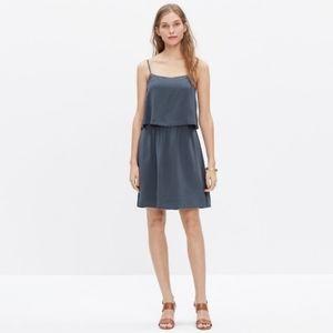 Madewell Slate Blue Silk Cami Overlay Mini Dress 4